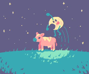 Moon jumps over the cow!! ?