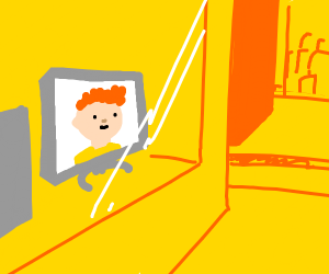 Red headed dude on screen