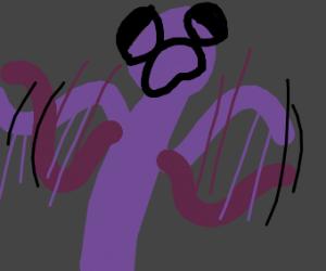 PURPLE MAN WAVES ARMS AROUND