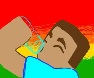 Steve holding a water bottle