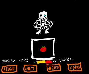 Sans fighting a tomato head Chara