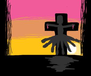 legdad nailed on a cross
