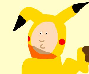 a guy dressing like pikachu