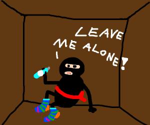 Ninja in socks with water bottle