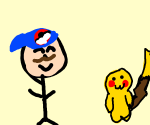 Ash with mustache sees pikachu