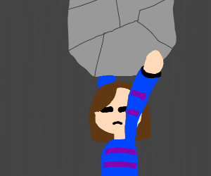 Frisk is going to assault you with a rock