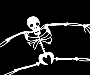 scary skeleton split jumping
