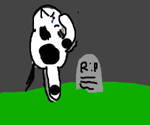sad cow stands by grave