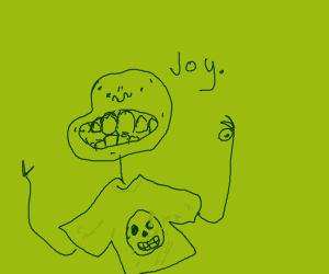 Happy man with skull shirt