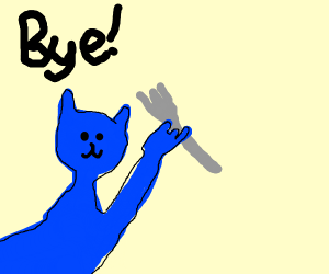 Blue Animal Has A Fork, Says Bye