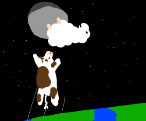 Cow Jumps to the moon to find sheep