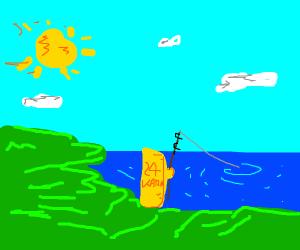 24 karat gold bar goes fishing