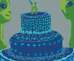 Space alien wedding cake