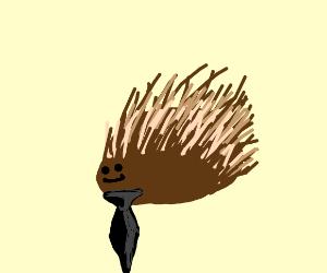 Porcupine wearing a tie