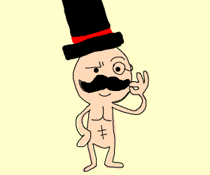 Naked guy with top hat and monocle