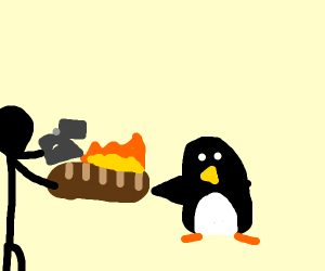 Stealing and burning a penguin's baguette