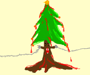 Bloody Christmas Tree.Wealthy Dragonfruit Drawception