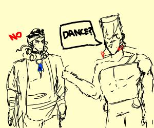 Avdol rejects Polnareff's invitation to dance