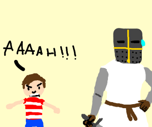 Child yells at a knight