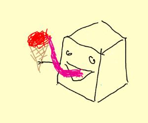 Sugar that ate a red icecream