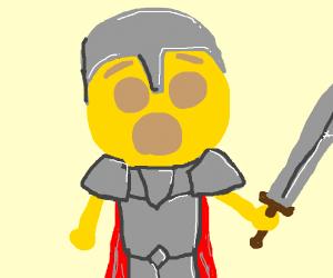 Humanoid surprised emoji in suit of armor