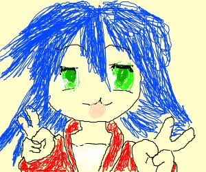 Girl with blue hair timotei
