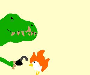 T rex sets chicken on fire with flint/steel