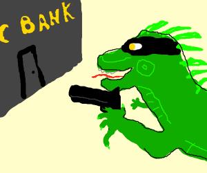 Iguana bank robber