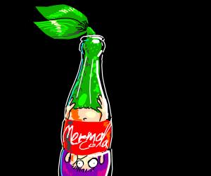 Mermaid in a soda bottle