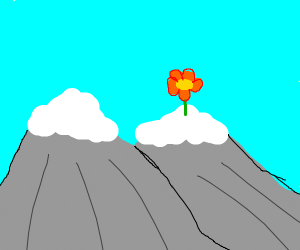 pixel flower at the end of a cliff