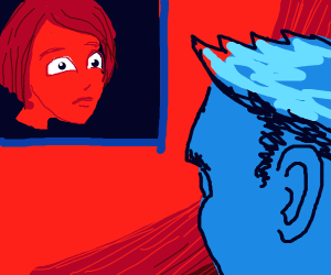 A red face in a square and a blue face