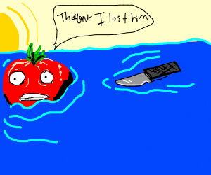 Tomato is scared of floating knife