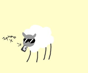 a sheep eating electronics