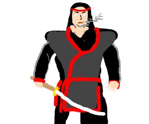 Samurai w/ red haurband & 4 cigarettes