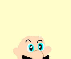 mario with shiny bald head