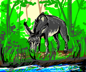 Happy donkey eats grass by a river