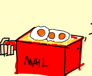 Man cooks eggs with a mailbox