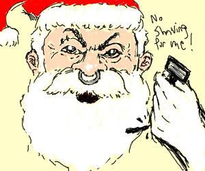 Punk Santa will not shave