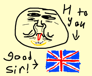 """A man with a sour face going """"h"""" at the UK"""