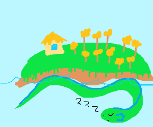 An island on top of a sleeping sea monster