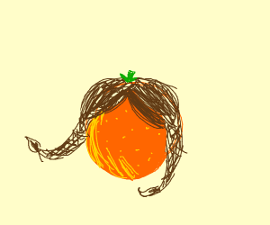 Orange (fruit) with brown hair and braid
