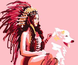 Girl with headdress petting a wolf (good boy)