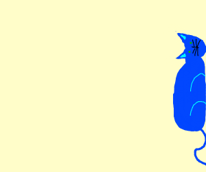 A cat with Drawception's colors lying on side