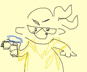Splatoon guy has a water gun