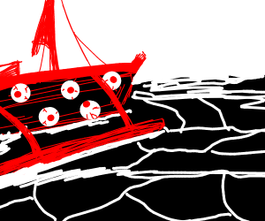 A Red Eye Boat on a Black Sea