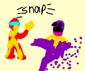 Iron Man snaps Thanos