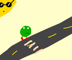 pea about to cross the road