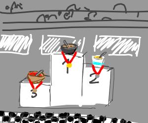 3 soups at finish line on podium