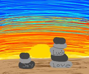 Sunset with zen stones
