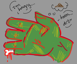 zombie hand has a desire to consume dirt